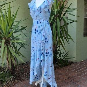 Banana Republic Long Asymmetrical Ruffle Dress